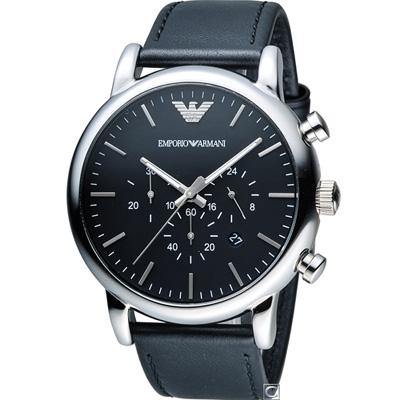 Emporio Armani  Classic 簡約風計時腕錶(AR1828)黑/46mm