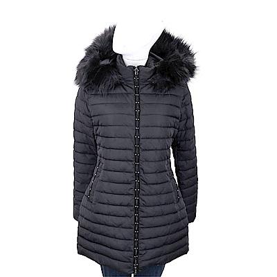 EMPORIO ARMANI 絎縫可拆皮草帽黑色銀飾飾拉鍊外套
