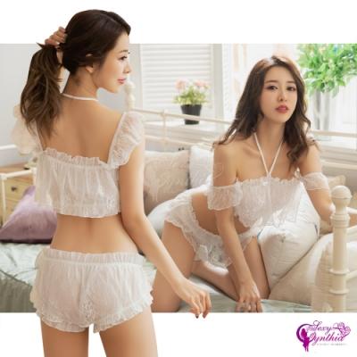 Sexy Cynthia 情趣睡衣 純白挑逗蕾絲雪紡二件式繞頸短版套裝睡衣-白F