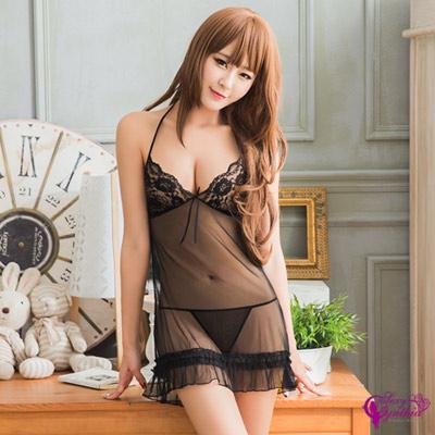 Sexy Cynthia情趣睡衣魅黑誘惑綁脖網紗二件式睡衣-黑F