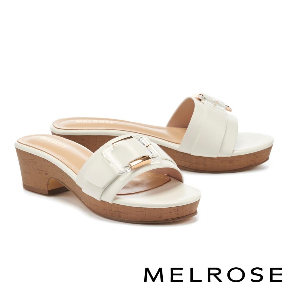 拖鞋 MELROSE 個性金屬透明方釦一字高跟拖鞋-白