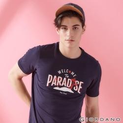 GIORDANO 男裝SUN AND SEA系列印花短袖T恤-02 標誌海軍藍