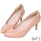 Ann'S魔術軟漆V口顯瘦低跟尖頭包鞋-粉(版型偏小)