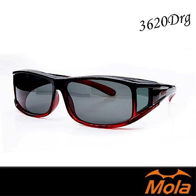 MOLA摩拉外掛式偏光太陽眼鏡 套鏡 墨鏡 女 UV400 近視可戴-3620Drg