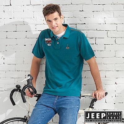 JEEP 質感品牌刺繡短袖POLO衫-藍綠色