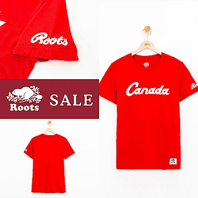 [限搶][時時樂限定]女裝Roots加拿大短袖T恤-紅