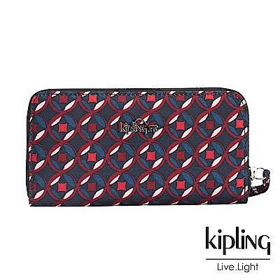 Kipling 長夾 紅藍幾何印花-小