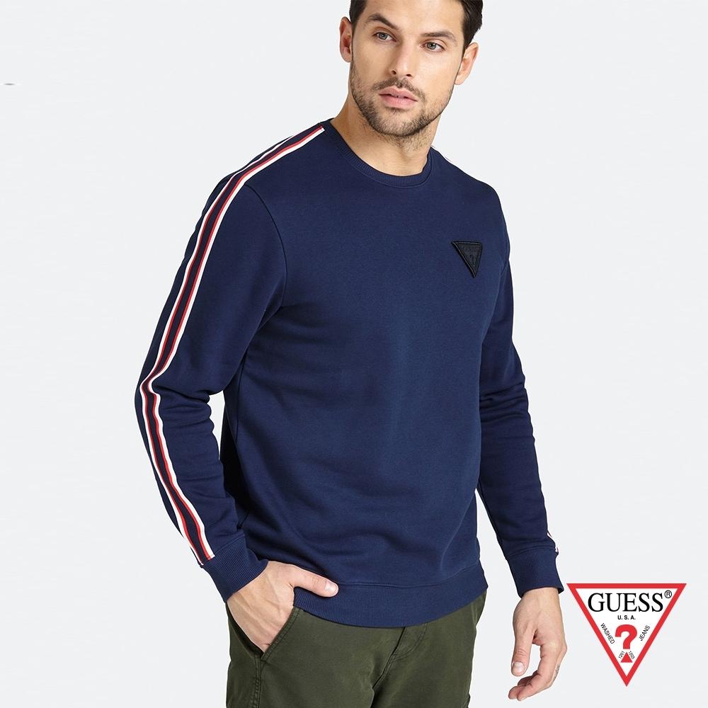 GUESS-男裝-簡約素色配條長袖上衣-藍