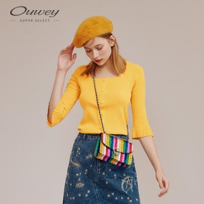 OUWEY歐薇 法式復古方領針織上衣(黃/綠)