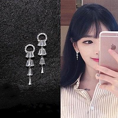 梨花HaNA 韓國925銀全水鑽閃耀之星扇型耳環