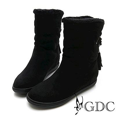 GDC-秋冬必備毛絨可愛流蘇反摺短靴-黑色