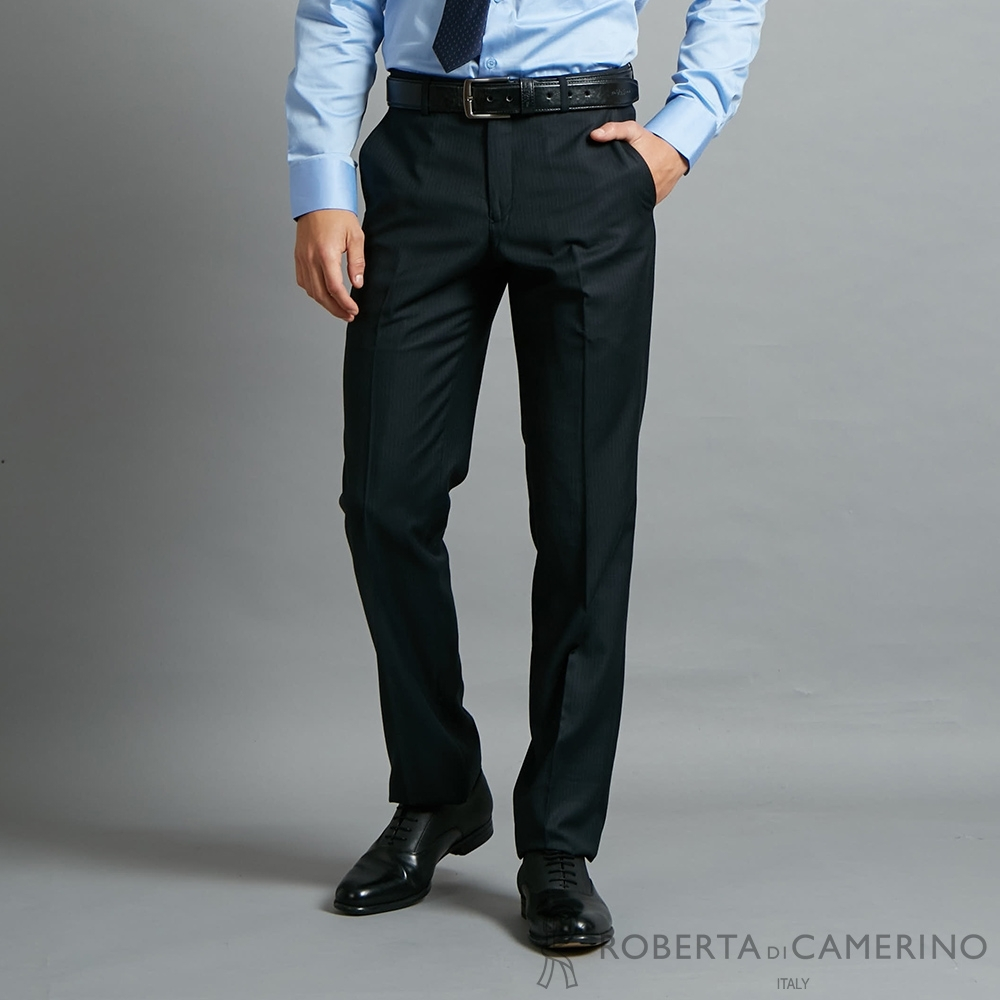 ROBERTA諾貝達 時尚設計 流行條紋精品西裝褲 藍黑