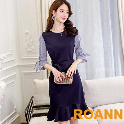 甜美拼接條紋五分袖洋裝 (藏青色)-ROANN