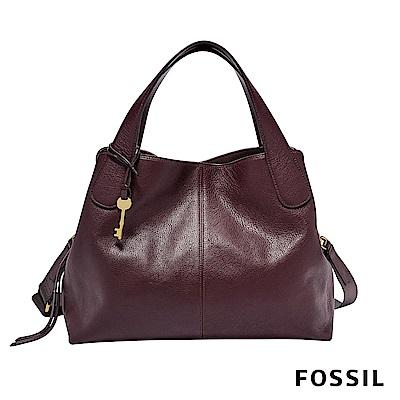 FOSSIL MAYA 柔軟真皮多夾層手提/側背兩用包-棗紅色