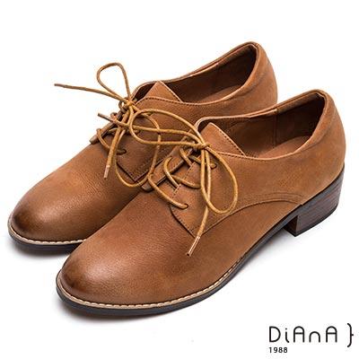 DIANA極簡雅痞--復古圓頭綁帶牛津鞋-棕