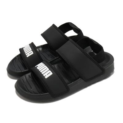 Puma 涼鞋 Soft Sandal 休閒 童鞋 彈力束帶 夏日 透氣 輕便 百搭 中童 黑 白 37569501