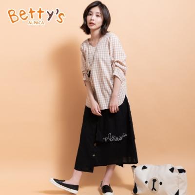 betty's貝蒂思 拼接層次動物繡線長裙(黑色)