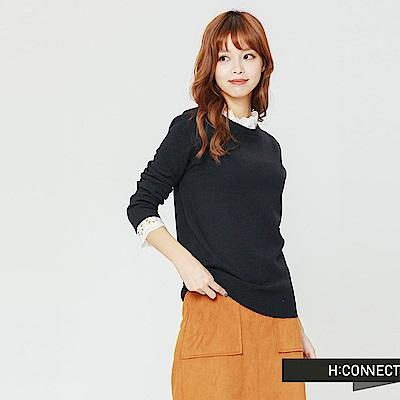 H:CONNECT 韓國品牌 女裝-拼接蕾絲小立領針織衫-藍