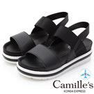 Camille's 韓國空運-正韓製-一字撞色寬版鬆緊帶輕量涼鞋-黑色