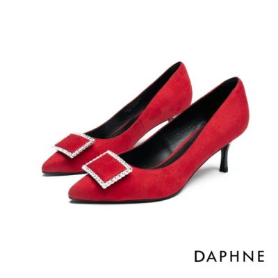 達芙妮DAPHNE  高跟鞋-鑽飾方扣尖頭高跟鞋-紅