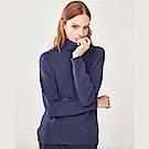 GIORDANO 女裝素色棉質高領落肩針織衫-66 標誌海軍藍