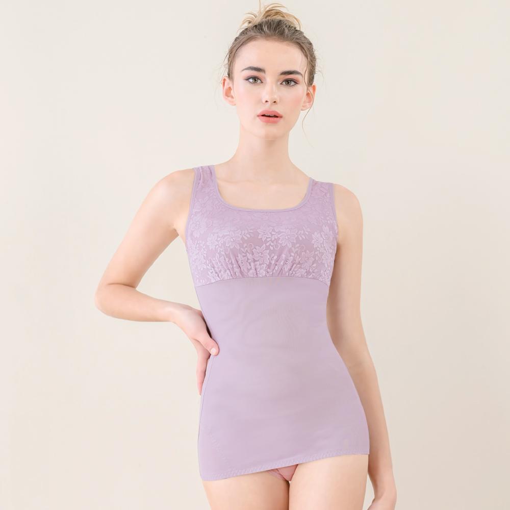 可蘭霓Clany  蕾絲款輕機塑身M-EQ(3XL)美體衣 優雅紫