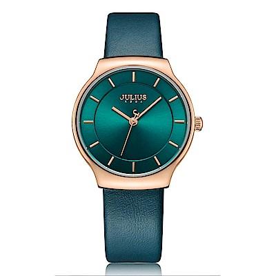 JULIUS聚利時 專屬誓言簡約時尚皮錶帶腕錶-湖水綠/31.5X34mm