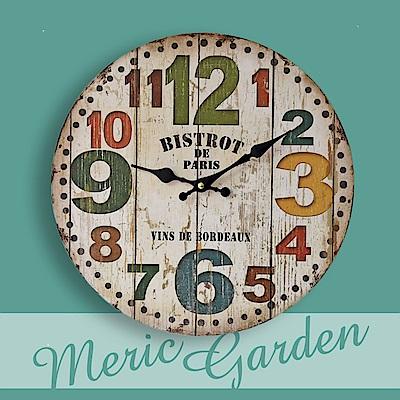 【Meric Garden】風格仿舊裝飾壁掛式時鐘/壁鐘/掛鐘(仿舊木紋)