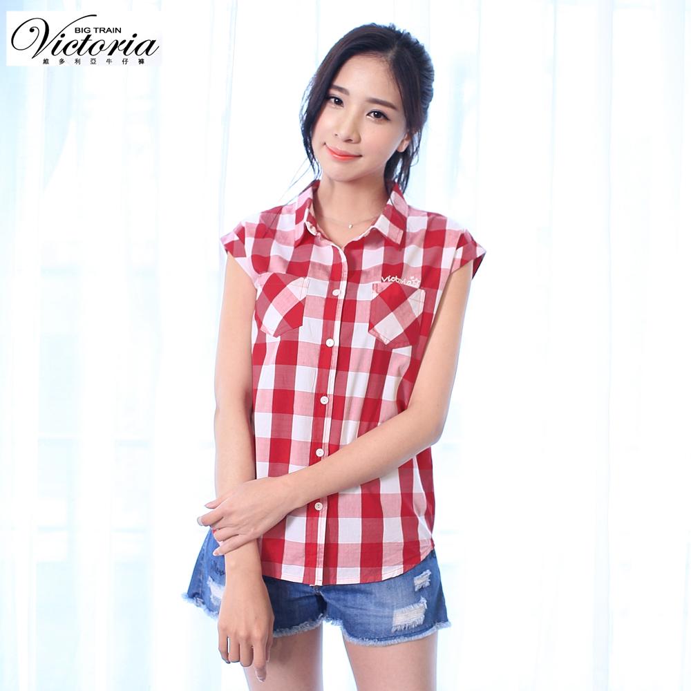 Victoria 格紋落肩短袖襯衫-女-紅白格紋