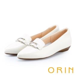 ORIN 嚴選牛皮金屬方扣樂福平底鞋 白色