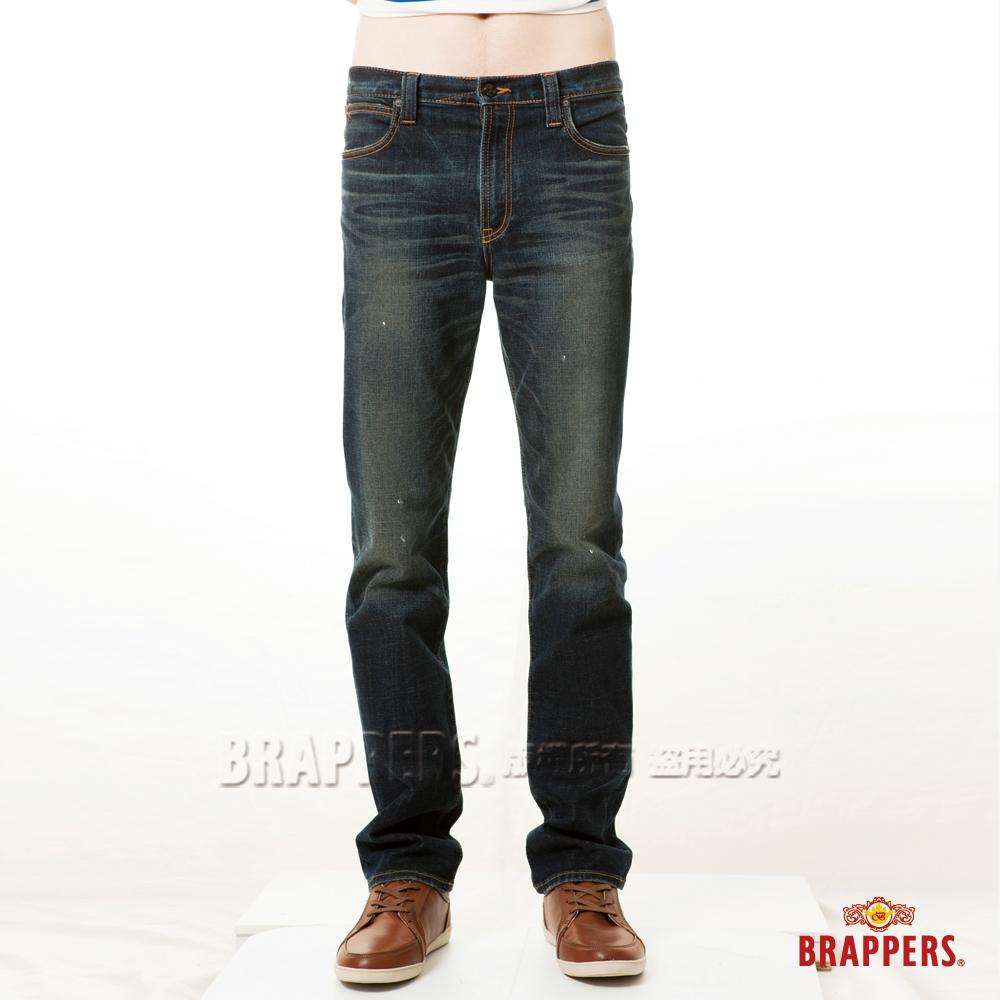 BRAPPERS 男款 高腰彈性直筒褲-深藍