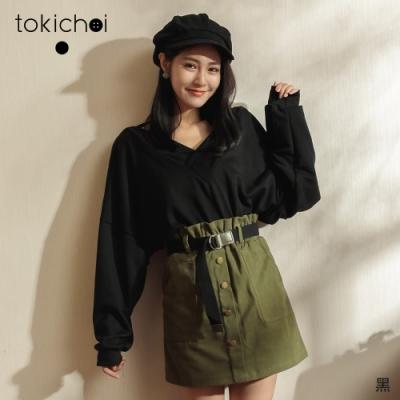 東京著衣 性感無極限大V領寬袖上衣