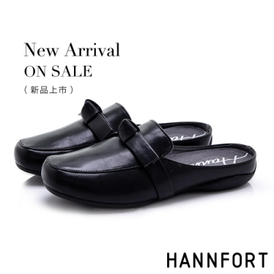 HANNFORT RIPPLE 蝴蝶扭結氣墊穆勒鞋-女-黑