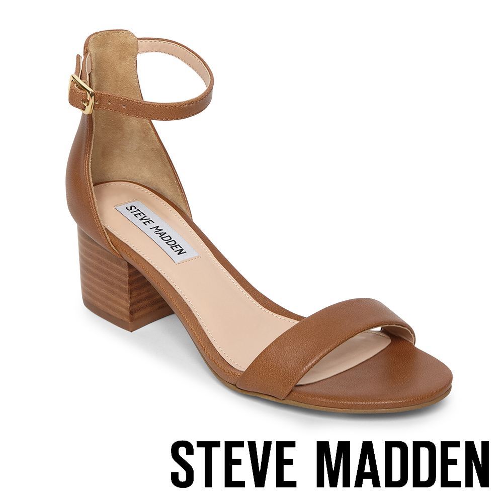 STEVE MADDEN-IRENEE-C-經典牛皮百搭粗中跟涼鞋-棕色