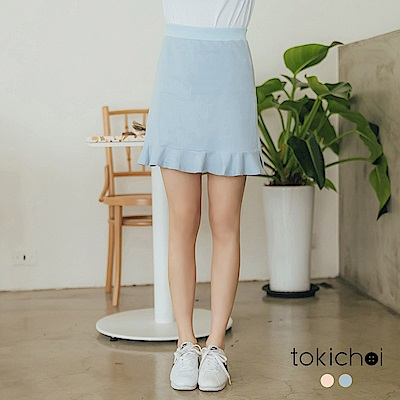 東京著衣-sport girl鬆緊腰頭荷葉棉質短裙-S.M.L(共兩色)
