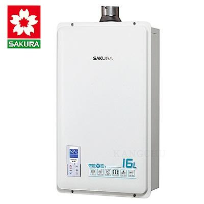 櫻花牌 DH1633A 數位恆溫16L強制排氣熱水器(天然)