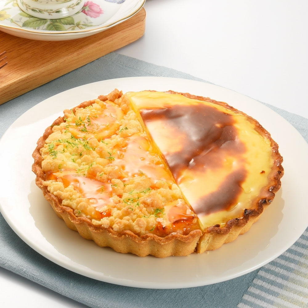 (滿4件)亞尼克雙享派 橙香起司烤布丁派6吋