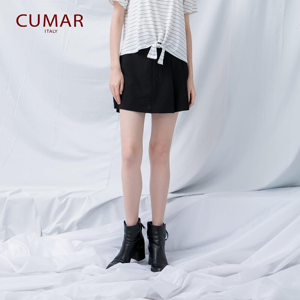【CUMAR】質感活褶短-褲裙(二色)