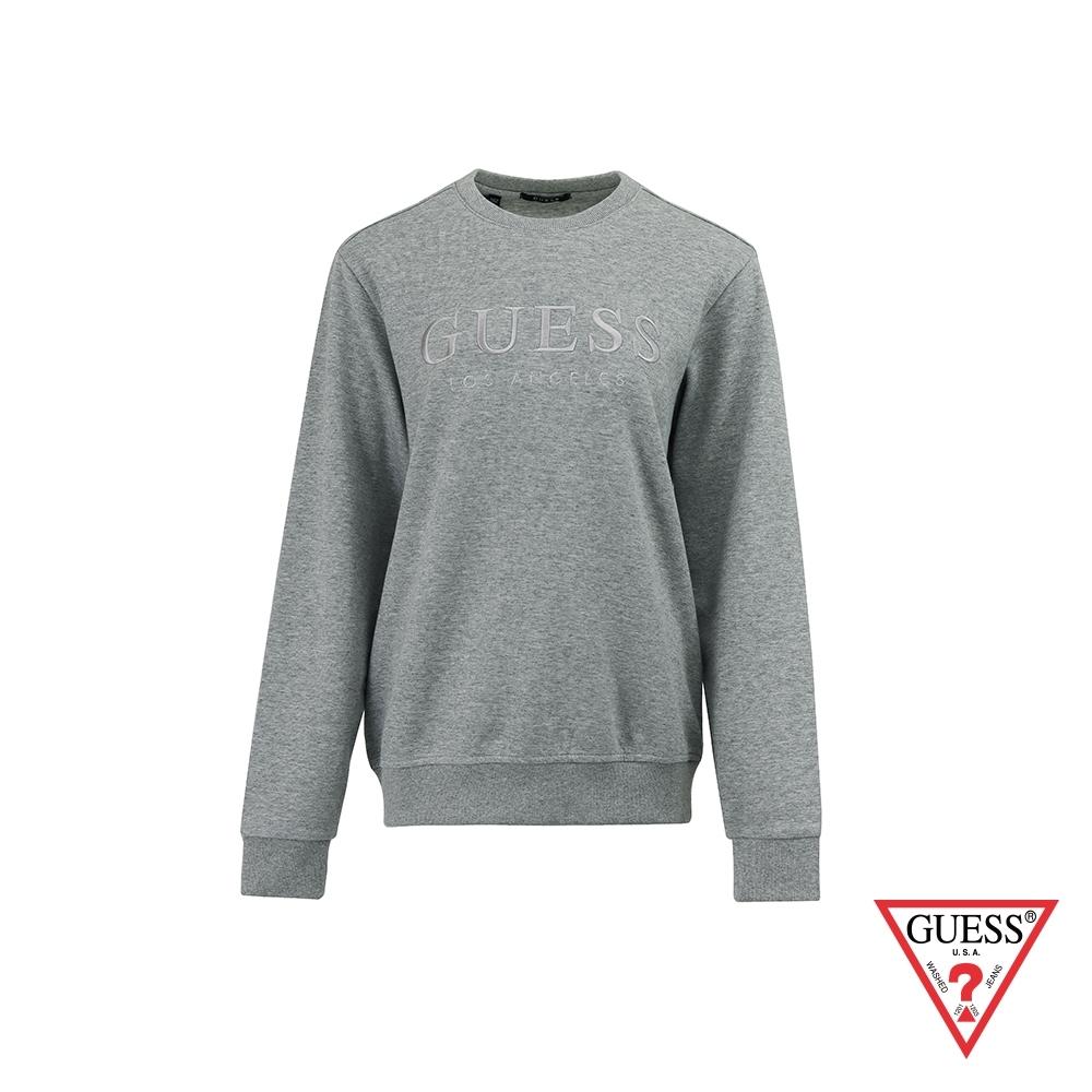 GUESS-男裝-純色刺繡文字LOGO大學T-灰 原價2990