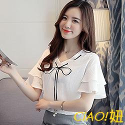 純色蝴蝶結V領喇叭袖雪紡衫 (共二色)-CIAO妞