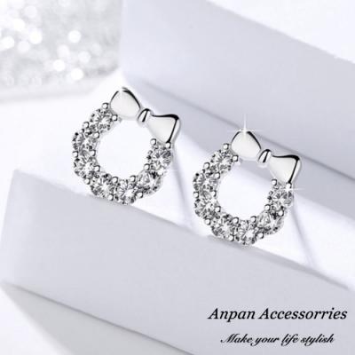 【ANPAN愛扮】S925純銀飾 蝴蝶結鏡面微鑽花圈耳針式耳環
