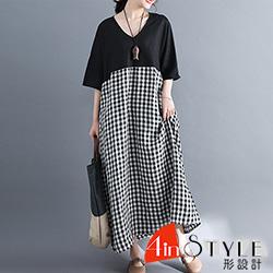 V領拼接格紋棉麻長款洋裝 (共二色)-4inSTYLE形設計