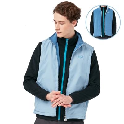 【Jack Wolfskin 飛狼】男 雙面穿保暖內刷毛背心 外層防風防撥水『淺藍配藍』