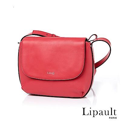 法國時尚Lipault By The Seine優雅真皮斜背包(莓紅)