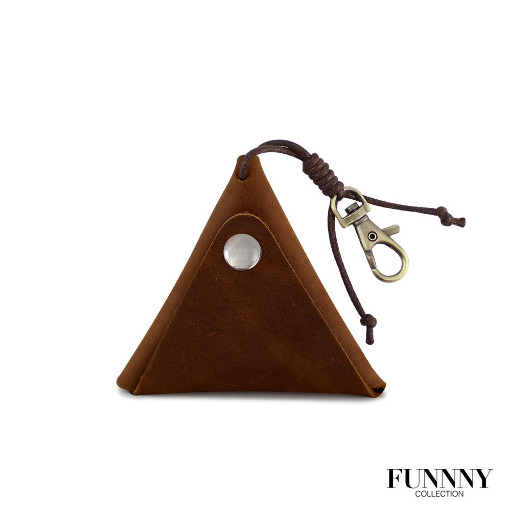 FUNNNY 真皮實用三角型 零錢/鑰匙 收納包 中居 瑛 棕