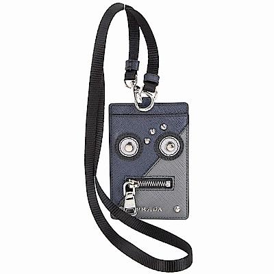 Prada Saffiano 防刮牛皮機器人證件夾(海藍色)