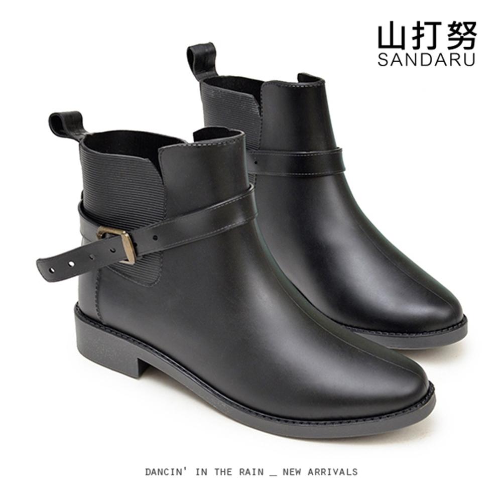 山打努SANDARU-雨靴 美型皮帶釦側鬆緊防水短靴