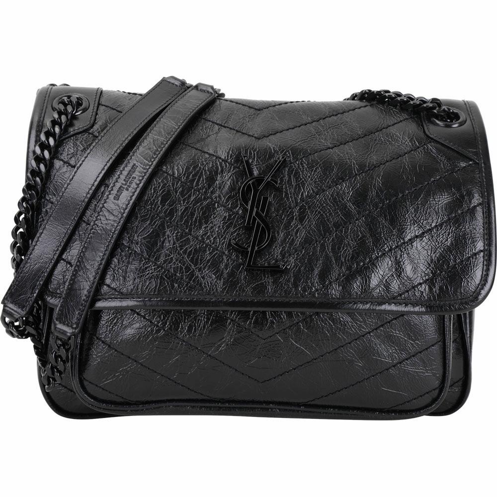 YSL Saint Laurent NIKI 中款揉製小牛皮黑鍊翻蓋肩/斜背包(黑色)