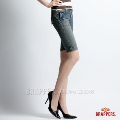 BRAPPERS 女款 新美腳二代系列-彈性合身五分褲-藍