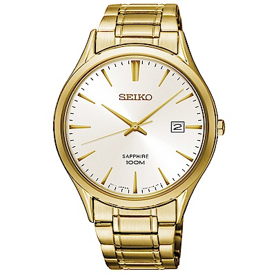 SEIKO 精工太陽能簡約時尚手錶SGEH72P1-銀X金/40mm